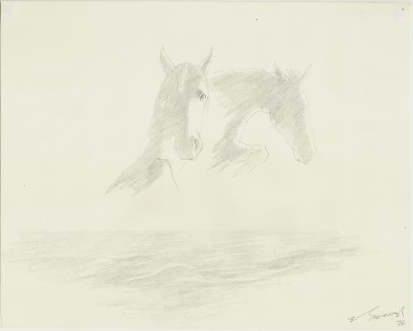 Yashwant Mali b.1934Untitled (Ballet on the Sea series), 1976 Graphite on paper Signed and dated lower right and on the reverse 20.2 x 25.4 cm 8 x 10 in