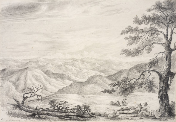Colonel George Francis White 1808-1898View of the Himalays (sic) from Mt Tyne, 1829 Pencil on paper Initialled 'GJ.W.', titled and dated 'May 3d 1829' along lower edge 25 x 36.5 cm 9 7/8 x 14 3/8 in