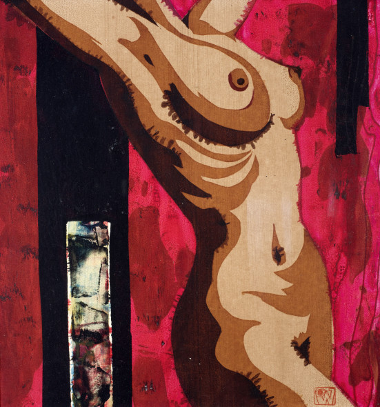 Ibrahim Wagh 1932-2013Untitled (Nude on Red), c.1970 Unique screenprint on paper Stamped with the artist's monogram lower right 39.5 x 37.5 cm 15 1/2 x 14 3/4 in