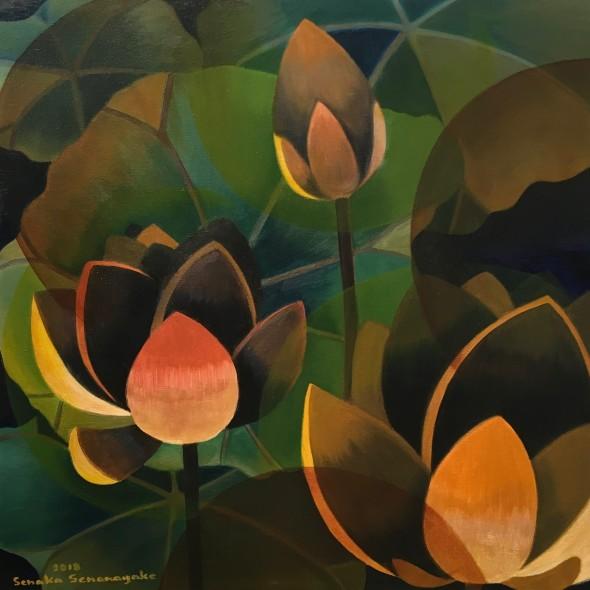 Senaka Senanayake Dark Lotus, 2018 Oil on canvas 60.9 x 60 cm 24 x 23 5/8 in