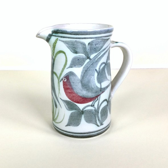 <span class=%22title%22>Straight-sided jug with birds, foliage and grasses</span>