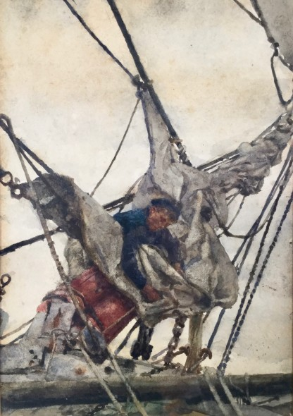 <span class=%22title%22>Stowing the Head Sails<span class=%22title_comma%22>, </span></span><span class=%22year%22>c 1910s</span>