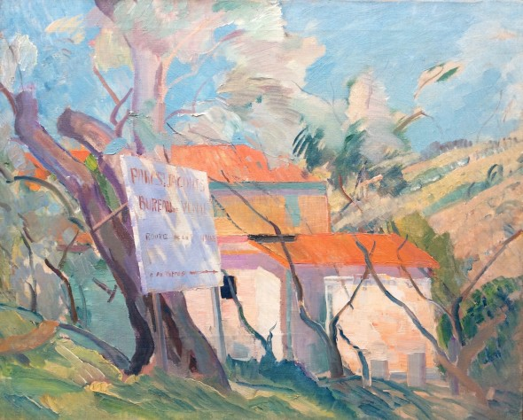 <span class=%22title%22>French Landscape with Sign<span class=%22title_comma%22>, </span></span><span class=%22year%22>c 1937</span>