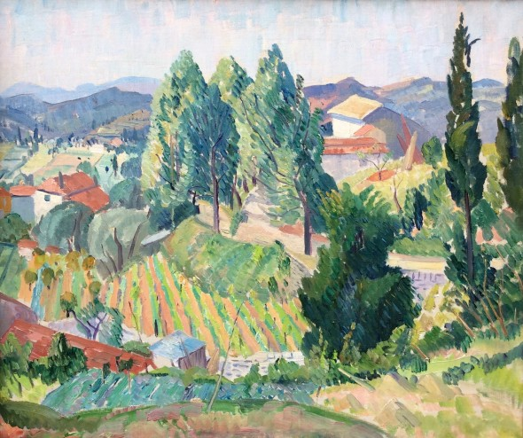 <span class=%22title%22>French Landscape with Cypress Trees<span class=%22title_comma%22>, </span></span><span class=%22year%22>c 1937</span>