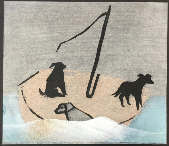 <span class=%22title%22>Dogs in a Boat (on Black)<span class=%22title_comma%22>, </span></span><span class=%22year%22>2019</span>