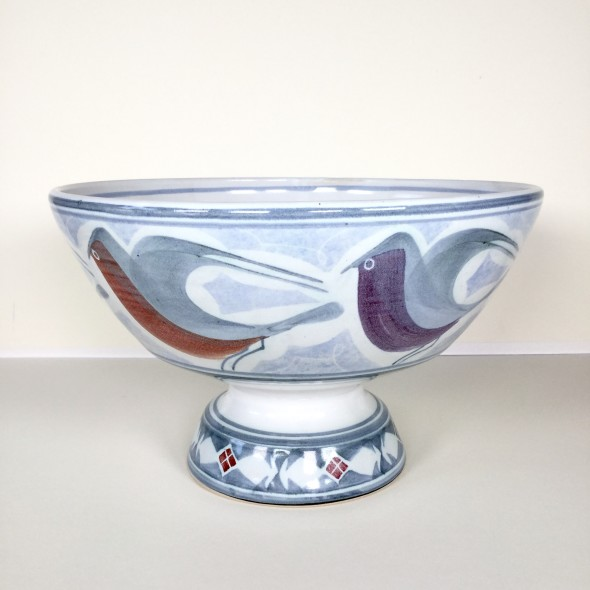 <span class=%22title%22>Large pedestal bowl with birds</span>