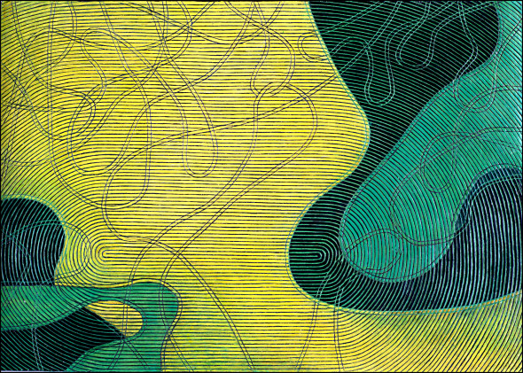 Diana Moore, Rotating Lines (Yellow Field Area)
