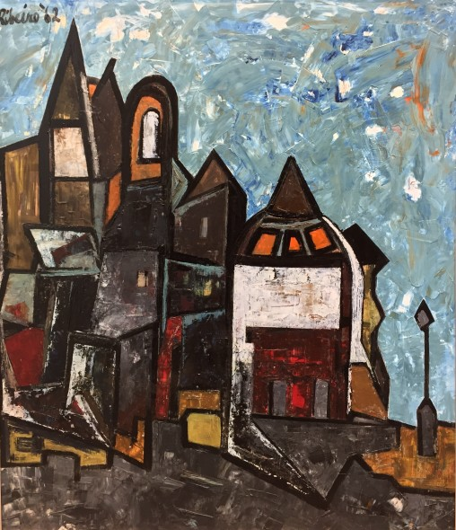 Lancelot Ribeiro 1933-2011Strange Town, 1962 Oil on board Signed and dated upper left 91.5 x 80 cm 36 1/8 x 31 1/2 in