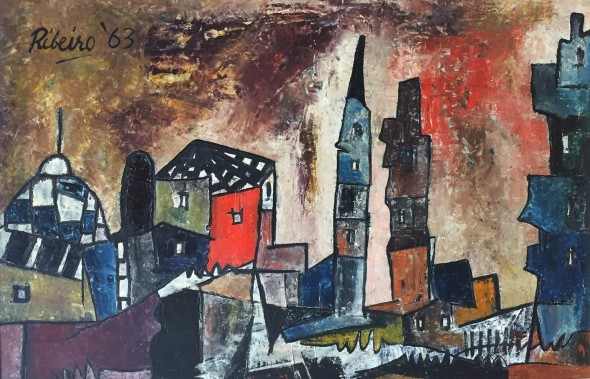 Lancelot Ribeiro 1933-2011The City I, 1963 Oil on board Signed and dated upper left, titled verso on the stretcher