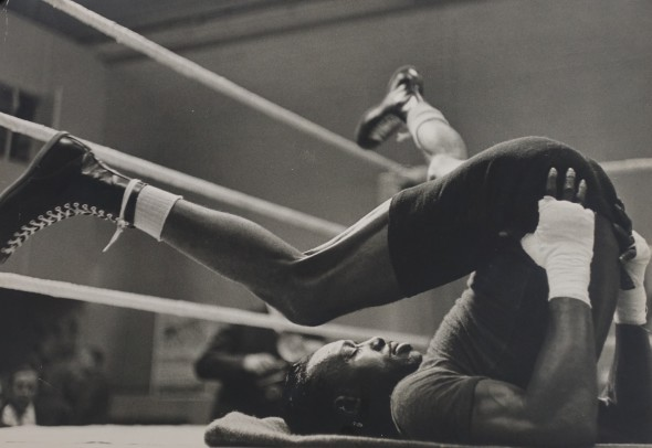 Joe Brown (USA) training for world title fight in London, 1961