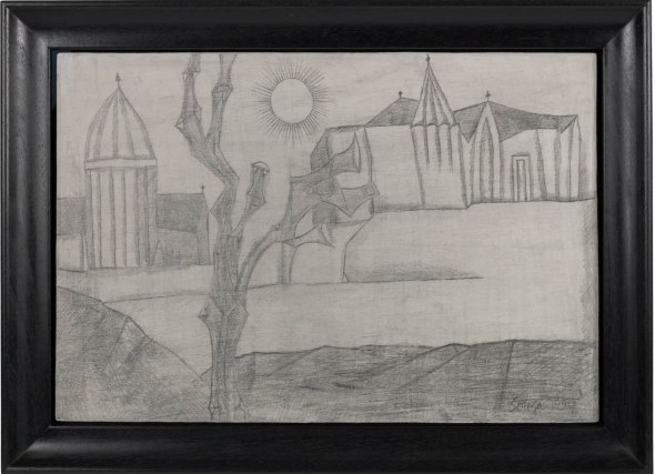 Francis Newton Souza, Untitled (Landscape with Sun and Church), 1954