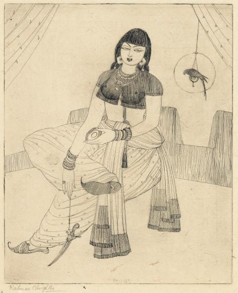 Abdur Rahman Chughtai, Untitled (Woman with a Parrot)