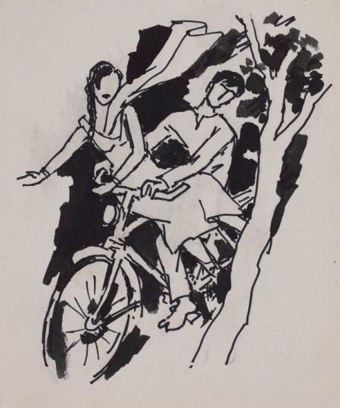Maqbool Fida Husain, Untitled (Couple on a bicycle)