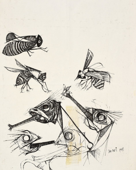 Dumile Feni, Untitled (Wasp and Chameleon), 1969
