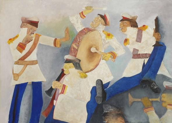 Krishen Khanna, Untitled (Bandwallas in White and Blue), 2012