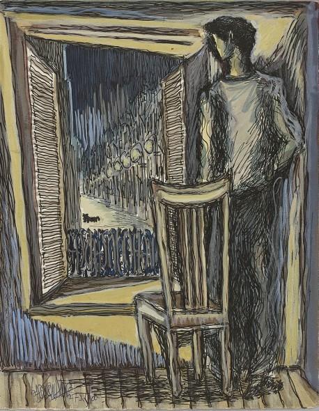 Syed Sadequain, Untitled (Meursault at his Window), 1966