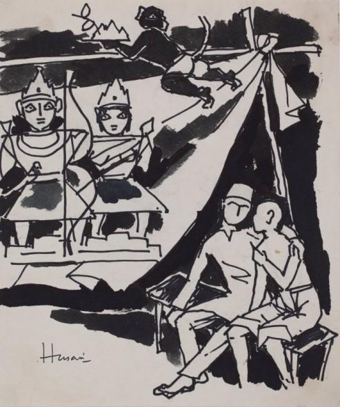 Maqbool Fida Husain, Untitled (Figures with Deities)