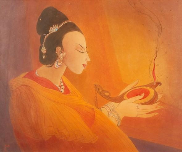 Abdur Rahman Chughtai, Maiden with an Oil lamp, c.1967