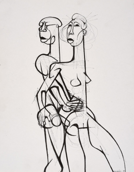 Dumile Feni, Untitled (Man and Japanese Lady), 1985