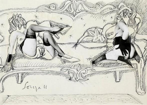 Francis Newton Souza, Untitled (Two women on a sofa), 1966