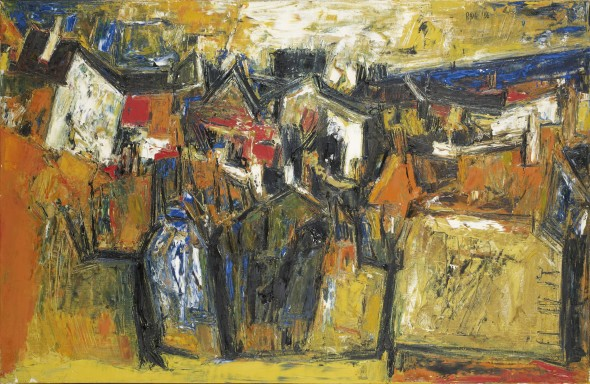 Sayed Haider Raza, Untitled (Paysage avec Maisons), 1956
