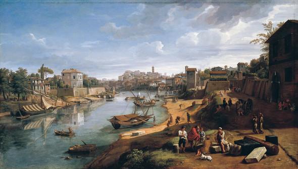 "<span class=""artist""><strong>Gaspar Van Wittel, Called Vanvitelli</strong></span>, <span class=""title""><em>Rome. View of the Tiber at Ripa Grande</em></span>"