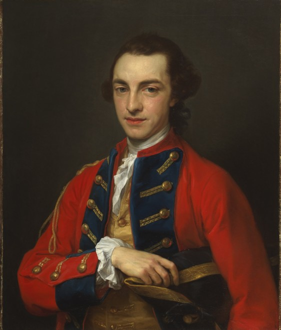 "<span class=""artist""><strong>Pompeo Batoni</strong></span>, <span class=""title""><em>Portrait of George Craster (1734-1772), half-length, in the gold-frogged, red and blue uniform of the Horse Grenadier Guards, holding a tricorn</em></span>"