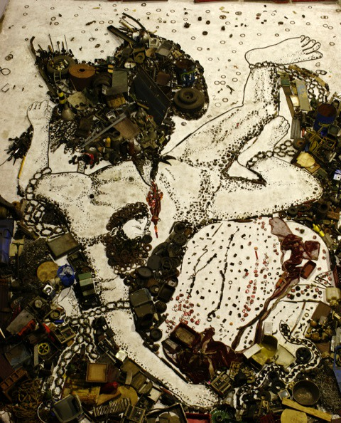 "<span class=""artist""><strong>Vik Muniz</strong></span>, <span class=""title""><em>Prometheus, after Titian - Pictures of Junk</em>, 2006</span>"