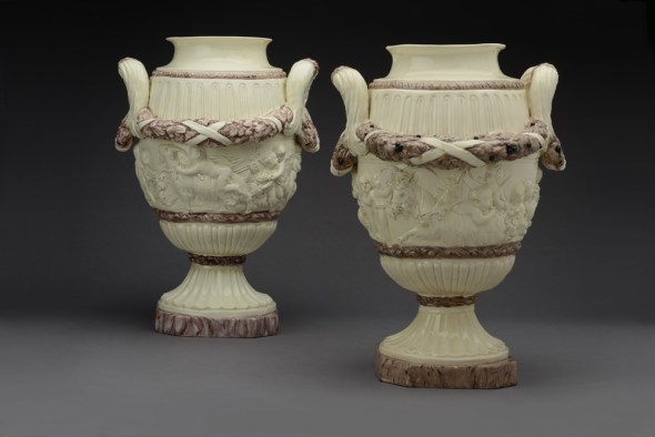 """<span class=""""title""""><em>A near pair of large Continental Earthenware white cream grounds vases, probably Neapolitan, Giustiniani Factory</em>, ca. 1780-1790</span>"""