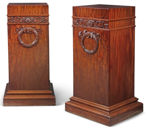 """<span class=""""title""""><em>A Pair of Regency Mahogany Dining Room Pedestals</em>, ca. 1810-15</span>"""