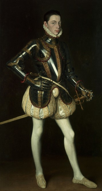 """<span class=""""artist""""><strong>Antonis Mor</strong></span>, <span class=""""title""""><em>Portrait of Alessandro Farnese wearing armour</em>, circa 1561</span>"""