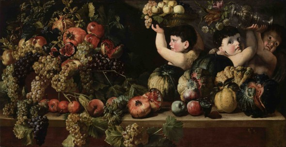 """<span class=""""artist""""><strong>Bartolomeo Cavarozzi</strong></span>, <span class=""""title""""><em>Still Life of Fruit with Three Figures of Children (Allegory of Autumn)</em></span>"""
