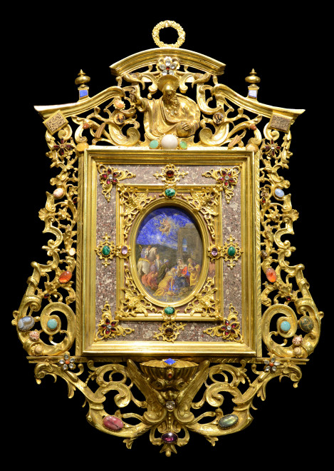 """<span class=""""artist""""><strong>Bassano family Workshop</strong></span>, <span class=""""title""""><em>A Very Important Roman Gilt-Bronze semi-precious stones mounted Holy Water Stoup, Rome, centred by an oval lapis lazuli oil painted plaque showing """"The Adoration of the Magi"""", Bassano family Workshop, within double jasper rectangular frames with cherubs, flowers and foliage applied with gilt bronze scrollwork surmounted by blessing God</em>, c. 1600</span>"""