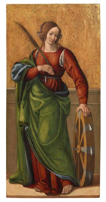 "<span class=""artist""><strong>Simone da Firenze</strong></span>, <span class=""title""><em>St Catherine of Alexandria</em>, circa 1500</span>"
