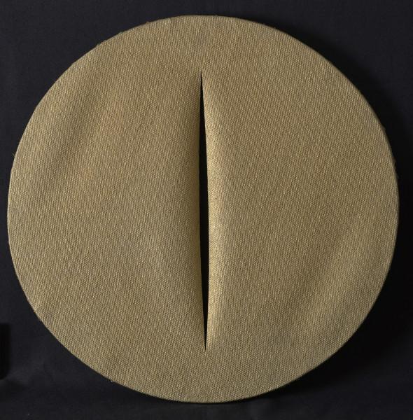 """<span class=""""artist""""><strong>Lucio Fontana</strong></span>, <span class=""""title""""><em>Concetto Spaziale I Quanta</em>, 1959/1960</span>"""