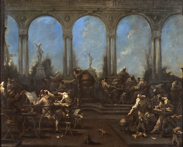 "<span class=""artist""><strong>Alessandro Magnasco</strong></span>, <span class=""title""><em>Monks in an Architectural Capriccio</em>, (1667 - GENOVA - 1749)</span>"