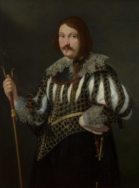 "<span class=""artist""><strong>Guido Cagnacci</strong></span>, <span class=""title""><em>Portrait of a soldier, three-quarter-length</em>, Circa 1640</span>"