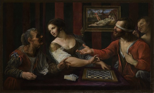 """<span class=""""artist""""><strong>Angelo Caroselli</strong></span>, <span class=""""title""""><em>Blind Love: A Man Playing Draughts with a Courtesan</em></span>"""