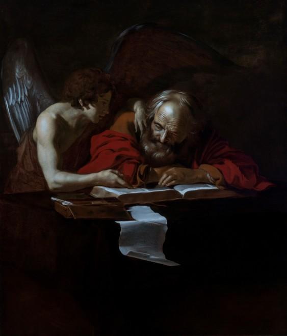 "<span class=""artist""><strong>Nicolas Regnier</strong></span>, <span class=""title""><em>St Matthew & The Angel</em>, c.1615</span>"