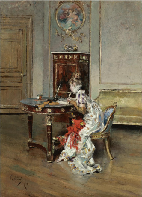 "<span class=""artist""><strong>Giovanni Boldini</strong></span>, <span class=""title""><em>La Lettera (The Letter)</em>, 1874</span>"