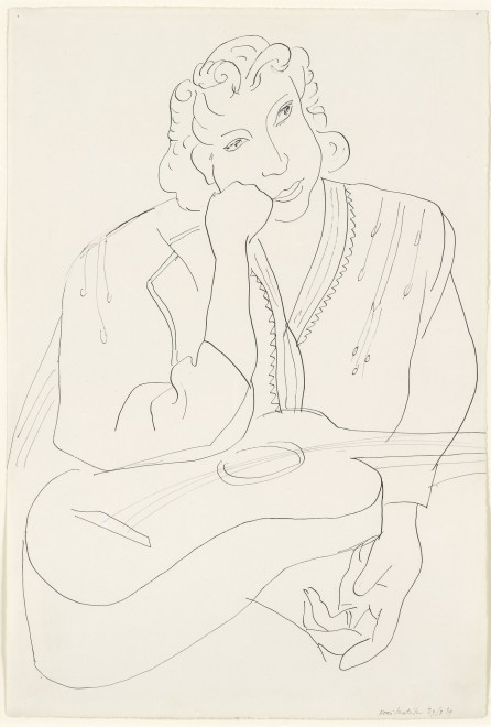 """<span class=""""artist""""><strong>Henri Matisse</strong></span>, <span class=""""title""""><em>Lady with a Guitar</em>, 1939</span>"""