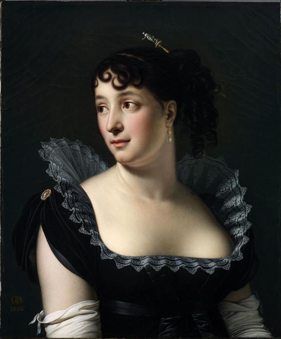"""<span class=""""artist""""><strong>Anne-Louis Girodet de Roucy-Trioson</strong></span>, <span class=""""title""""><em>Portrait of Madame Bertin de Veaux</em>, 1806</span>"""