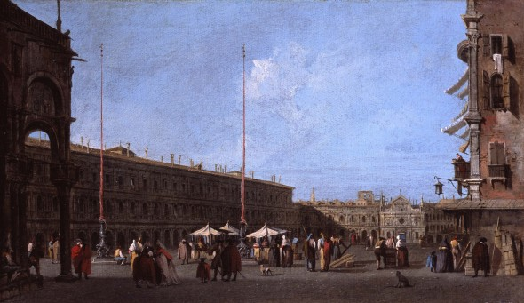 """<span class=""""artist""""><strong>Francesco Guardi</strong></span>, <span class=""""title""""><em>Piazza San Marco, looking West, from the Campo di San Basso</em>, ca.1758</span>"""