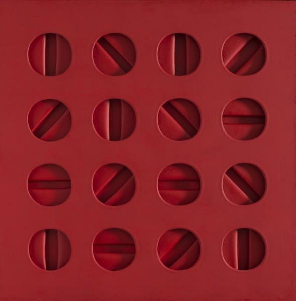 "<span class=""artist""><strong>Paolo Scheggi</strong></span>, <span class=""title""><em>Intersuperficie curva-dal rosso, 1965</em></span>"