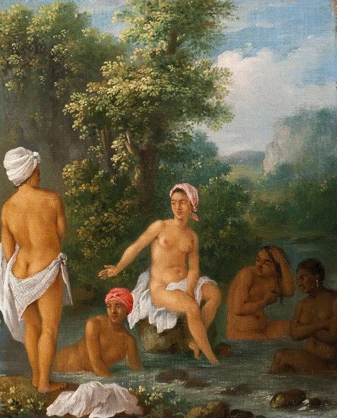 "<span class=""artist""><strong>Agostino Brunias</strong></span>, <span class=""title""><em>Women of Dominica Bathing in a Stream</em></span>"