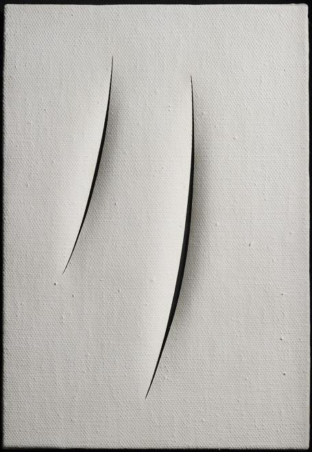 "<span class=""artist""><strong>Lucio Fontana</strong></span>, <span class=""title""><em>Spatial Concept, Waiting</em>, 1961</span>"