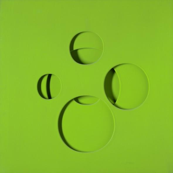 "<span class=""artist""><strong>Paolo Scheggi</strong></span>, <span class=""title""><em>Intersuperficie curva dal giallo + blu, 1966</em></span>"