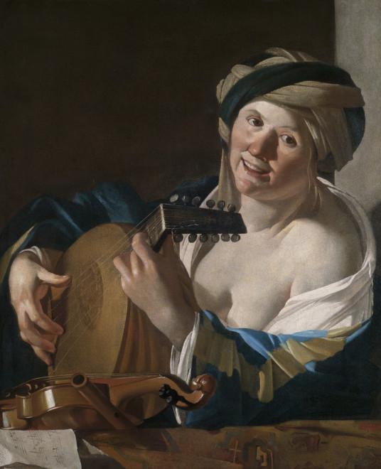 """<span class=""""artist""""><strong>Dirck Jaspersz. van Baburen</strong></span>, <span class=""""title""""><em>A Woman Playing the Lute</em>, ca. 1620–24</span>"""