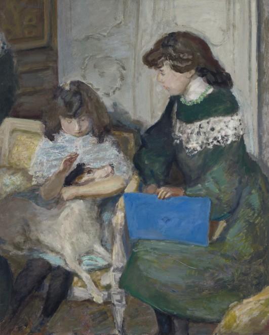 """<span class=""""artist""""><strong>Pierre Bonnard</strong></span>, <span class=""""title""""><em>Jeunes filles au chien</em>, 1910</span>"""