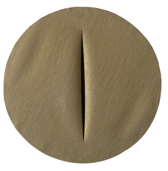 "<span class=""artist""><strong>Lucio Fontana</strong></span>, <span class=""title""><em>Spatial Concept, The Quanta</em>, 1959–60</span>"